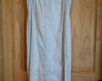 Vintage Ralph Lauren Romantic Button Front Chambray Floral Print Dress Size Small