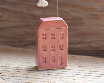 Ceramic Miniature Pink Row House with Sun & Clouds - Ready to Ship