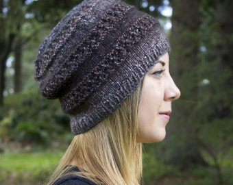 Brown and Gray Slouchy Knit Hat - Brown Vegan Hat - Boho Hat - Hipster Hat - Hippie Hat Womens Tam - Mens Beanie - Unisex Acrylic Hand Knit