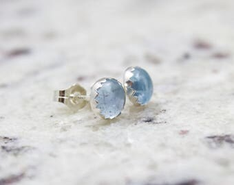 Aquamarine Earrings - Gemstone Earrings - March Birthstone - Stud Earrings - Gemstone Studs - Gemstone Post - Birthstone Jewelry