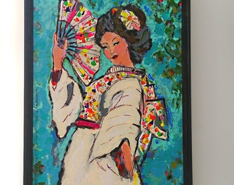 Geisha Lady, Original Painting, Joy, Bohemian, Art, Cheery, Asian, Wall Art, Home Decor, Japanese, Kimono