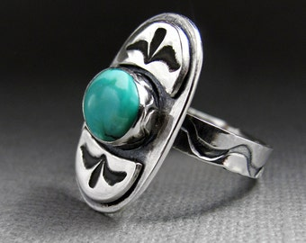 Tribal Turquoise and Sterling Silver Ring - Stamped Sterling Silver - Turquoise Ring - Boho Chic Ring