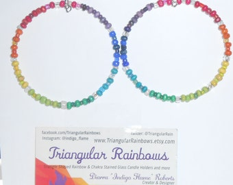 Chakra/ Rainbow Hoop Earrings with Glass and Wood Beads Solid Color Wheel