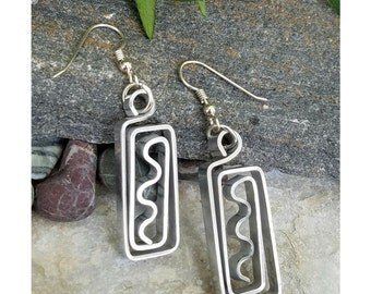 Lightweight Abstract Dangle Earrings, Silver Modern Drop Earrings, Gift For Her, Contemporary Boho Jewelry - Aztec Earrings by Jon Allen