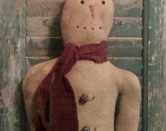 Primitive Snowman Doll, Primitive  Doll, Rustic Snowman, Snowman Door Hanger, Winter Doll, Christmas Doll, Primitive Decor, Farmhouse Decor