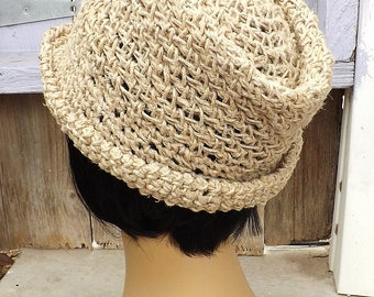 Crocheted Fedora Hat,  2 Inches Wide Brimmed Hat,  Hemp Hat,  Beach Hat,  Cool Summer Hat,  ALISTER Natural Fedora Hat