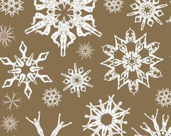"Not snowflakes but ""Swimflakes"" Christmas wrapping paper - optical illusion in silver or gold - synchronised swimmers"