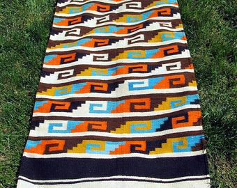 Wonderful Wool Vintage Mexican Hand Woven Rug or Wall Hanging. 32 x 66
