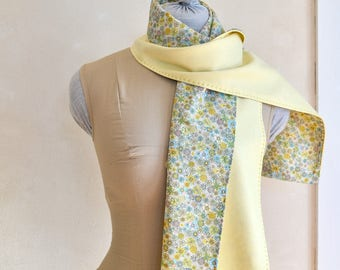 Spring Scarf/Wrap Light Wool w/ Floral Cotton Print Lining Pale Yellow & Multicolor Pastels