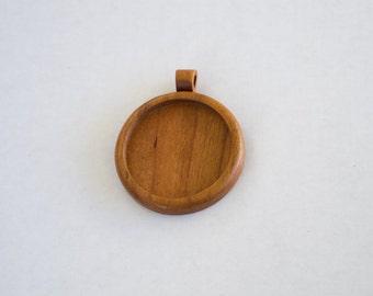 Light large pendant setting finished hardwood - Cherry - 38 mm Cavity - (Z383c-C) - Wooden Bail
