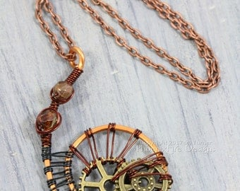 Spiral Steampunk Necklace Clockwork Cogs Gears Jewelry Mixed Metals Copper Pendant Wire Wrapped Jewelry Gunmetal Steampunk Jewelry OOAK RTS