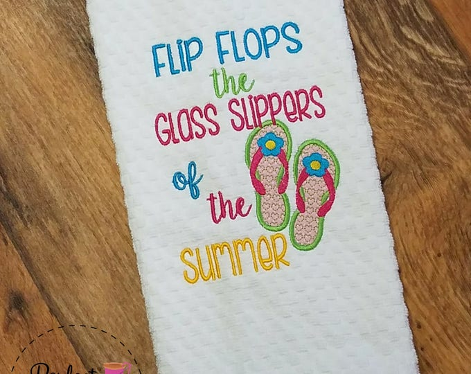 Kitchen Towel, Flip Flops, Embroidered Towel, Beach Themed, House Warming Gift, Beach Sandals