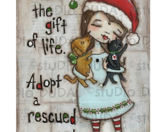 Print of my original mixed media folk art painting - The Gift of Life  - 6 x 9 image