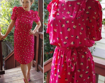 Hot PINK 1970's 80's Vintage Pure SILK Floral Secretary Dress with Ruffles + Side Buttons // size Silk Studio // size Small Med