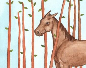 Original Art - The Nine of Wands - Watercolor Horse Painting - Art from The Riderless Tarot