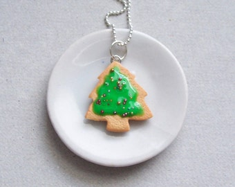 Christmas Tree Cookie Pendant Necklace - polymer clay miniature food jewelry