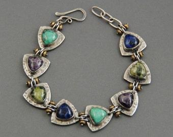 Sterling silver and Gemstone Bracelet, Amethyst, Turquoise, Sodalite, Serpentine, metalsmith, statement bracelet