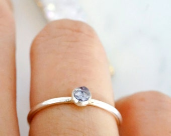 tiny alexandrite - 3mm faceted alexandrite ring. stacking gemstone ring. color changing. gold or silver ring