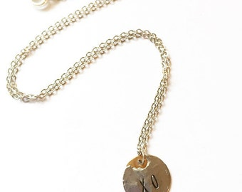 Kisses and Hugs Silver Soldered Brass XO Layering Necklace