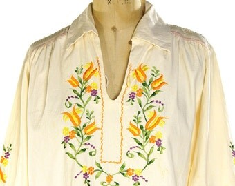 Embroidered European Peasant Blouse / Vintage 70s Cotton Ethnic Romanian Hungarian Folk Hippie Boho Bohemian Shirt / Handmade One of a Kind