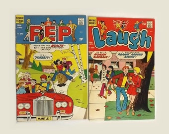 2 Archie Comic Books, 1972 Laugh Issue 250 and 1973 Pep Issue 273, TV Cartoon Show, 2 Vintage Collectible Magazines, Ephemera