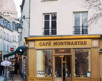 Cafe Montmartre, Paris Photography, Paris Decor, Parisian Bistro, Sacre Coeur, Bistro Chairs, Large Wall Art