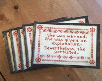 """She Was Warned Mitch McConnell Quote Cross Stitch Embroidery 4x6"""" Postcard"""