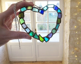Stained Glass Heart. Colourful Heart. BLue and Green Heart. Unique Heart. Valentine Gift.