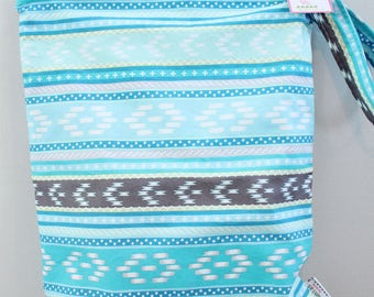 wetbag Wet bag ICKY Bag XL turquoise aztec PETUNIAS diaper bag cloth diapers sack large wet proof zipper handle gym bag travel swim pool