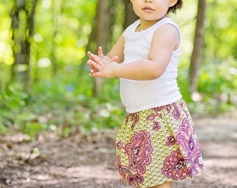 Boutique toddler girls  tween skirt ready To Ship Chartreuse Paisley  2 Toddler - 12 Youth By K Bella Bambino