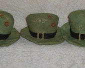 3 Primitive St. Patty's - St. Patrick's Day - Blarney Spoken Here - Hats - March 17 - Green - Bowl Fillers Ornies Ornaments Tucks