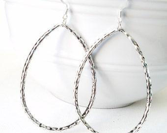 Hammered Silver Tear Drop Earrings  Bold Hammered teardrop Earrings