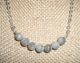 8mm labradorite beads and sterling necklace