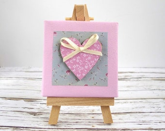 Miniature mixed media canvas & easel. Heart original art. Pink with ribbon bow.