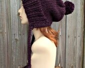 Eggplant Deep Purple Slouchy Knit Hat Womens Hat Purple Slouchy Beanie - Charlotte Slouchy Ear Flap Hat - Winter Hat - READY TO SHIP