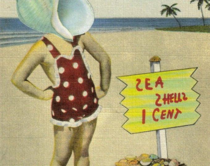 She Sells Sea Shells Art Collage