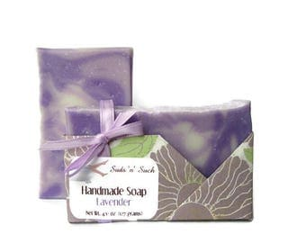 Lavender Essential Oil Soap - Artisan Design with Swirls - Vegan & Cruelty Free -  Cold Process - Purple