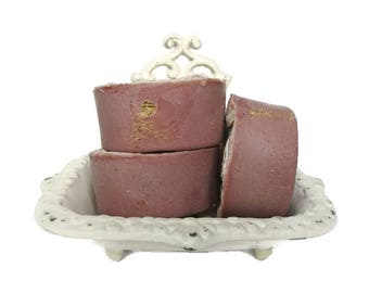 Exfoliating Pedicure Foot Scrub - Cherry Almond Scented Soap - Cold Process - Vegan - Maraschino Cherry Amaretto Scented