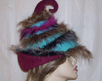 Furry Stripes Horn Hat Elf Pixie Wild Witch Wiccan Fur OOAK Dr Seuss Weird Wizard Fur Fae Turquoise Burgundy Felted Wool Adult Costume Hat