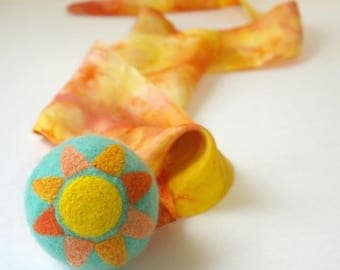Waldorf Inspired Comet Ball: Sun Shine Aqua (All Natural Wool and Silk Toy)