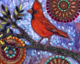"""Archival 6x6 inch Print on Wood """"Male Cardinal"""""""