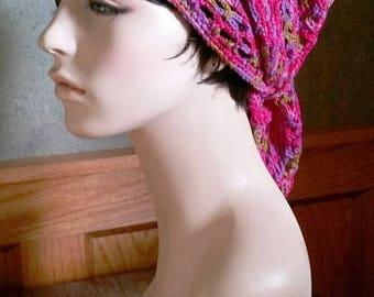 hand crcohet bandana women bandana dreadlock snood ~ gypsy spirit mesh ~ fushia mix  unisex