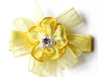 Yellow Hair Bow. Small Baby Hair Clippie With No Slip Clip. Toddler Girl Floral Hair Clip Set of 2. Fancy Sheer Organza Boutique Hair Bows