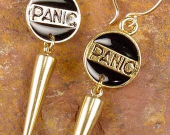 S A L E - PANIC - Punk Goth Quirky Pendulum Earrings