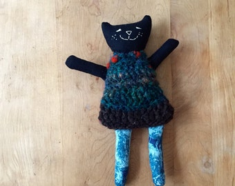 Happy Black Cat Doll made from Linen and Wool - One of a Kind