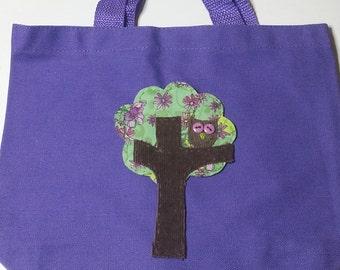 Owl Canvas Tote, Tree Tote, Purple Tote,Handmade Owl Applique, Owl in a Tree Applique, Tote, Travel Bag, Kids Tote Bag,Ready to ship