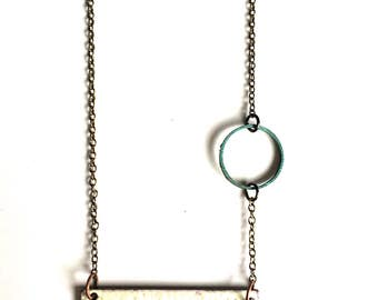 Black and White Enamel Necklace