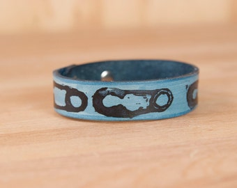 Safety Pin Leather Wrist Cuff - Handmade Bracelet with Safety Pin Print - Available in Nine Colors for Men or Women