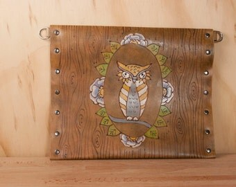 Leather Pouch - Handmade Envelope Clutch, Wristlet, Waist Bag or Crossbody in the Emerson Pattern with Owl and Woodgrain - Antique Brown