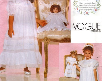 """Vogue 2105 STRASBURG HEIRLOOM COLLECTION Embroidered Child Dress and Slip 2-3-4-5 & Matching 18"""" Doll Dress  ©1998"""